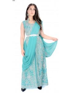 Robe de Soirée Bleu Turquoise et argente oriental  - 1