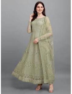 Tenue indienne Longue Sag Salwar Kameez Churidar Anarkali Vert pistache Dore  - 1