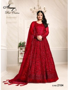 Robe de Soirée Princesse Longue Rouge Ansara  - 1