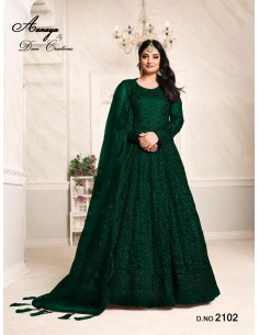 Robe de Soirée Princesse Longue Vert Ansara  - 1