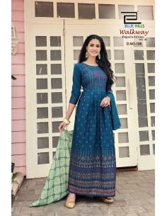 Tunique robe indienne longue Kurti walkway Bleu  - 1