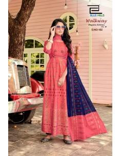Tunique robe indienne longue Kurti walkway Corail  - 1