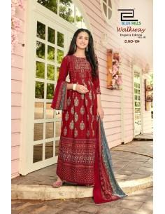 Tunique robe indienne longue Kurti walkway Rouge  - 1
