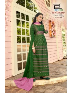 Tunique robe indienne longue Kurti walkway Vert  - 1