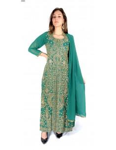 Robe de Soirée oriental Vert et dore  - 1