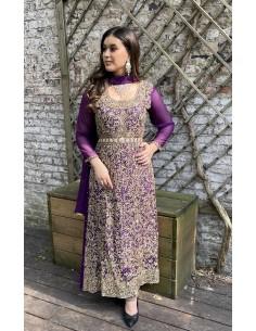 Robe de Soirée oriental indienne Violet et dore  - 1