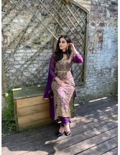 Robe Dubai Violet & Doré perlées J15
