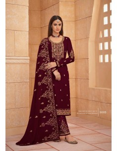 Robe indienne salwar kameez churidar anarkali Ziza Rouge  - 2