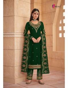 Robe indienne salwar kameez churidar anarkali Ziza Vert  - 1