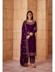 Robe indienne salwar kameez churidar anarkali Ziza Prune  - 1