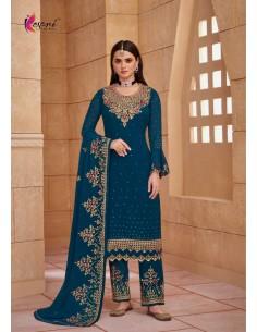 Robe indienne salwar kameez churidar anarkali Ziza Bleu vert  - 1