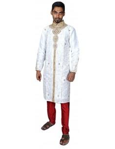 Sherwani Blanc et rouge