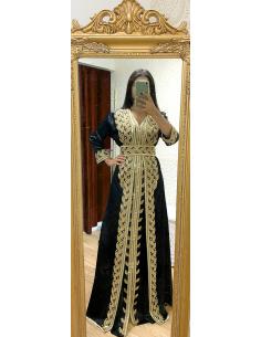 Takchita Caftan Noir dore robe oriental Kaftan moderne chic  - 1