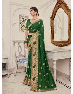 Sari indien Kalista Rang vert saree  - 1