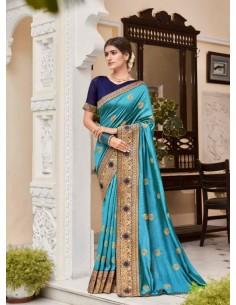 Sari indien Kalista Rang Bleu Turquoise saree  - 1