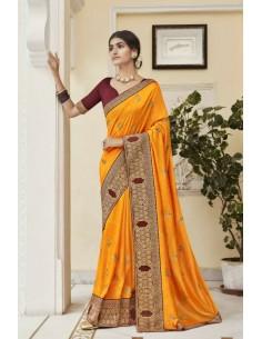 Sari indien Kalista Rang  Jaune saree  - 1