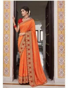 Sari indien Kalista Rang orange saree  - 1