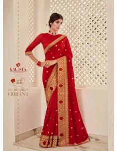 Sari indien Kalista Rang Rouge saree  - 1