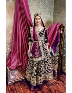 Robe indienne Brodé Haute Gamme Gulkand Prune  - 1