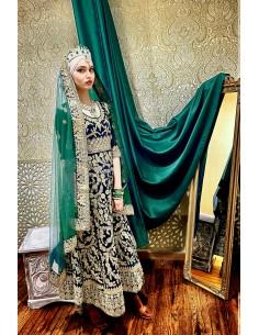 Robe indienne Brodé Haute Gamme Gulkand Vert dore  - 1