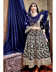 Robe indienne Brodé Haute Gamme Gulkand Bleu dore  - 1