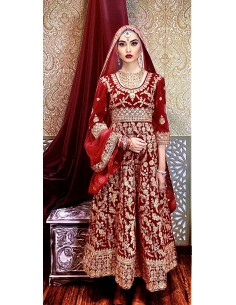 Robe indienne Brodé Haute Gamme Gulkand Rouge dore  - 1