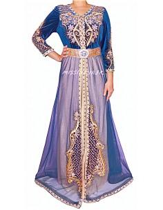 Caftan takchita abaya bleu royal dore 2021  - 1
