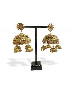 Boucle d'oreilles jumkha antique bronze pampilles  - 1