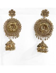 Jhumka indienne ethnique bronze dorée  - 1