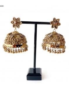 Boucles d'oreilles ethnique indienne bronze et doré  - 1