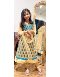 Tenue indienne fille Salwar Kameez Amrita Bleu turquoise et doré  - 1