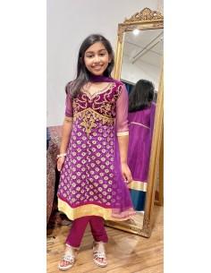 Ensemble indienne enfant fille churidar Amrita Prune et doré  - 1