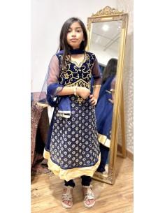 Robe indienne enfant fille churidar Amrita Bleu et doré  - 1