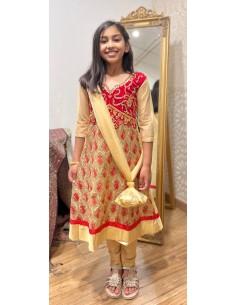 Tenue indienne enfant fille churidar Amrita Rouge et doré  - 1