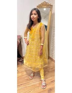Robe indienne enfant fille churidar Amrita Jaune et doré  - 1