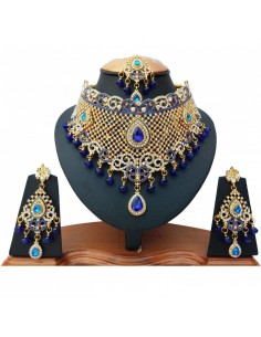 Parure bijoux indien bleu...