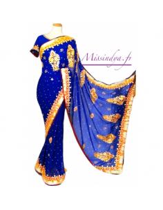 Sari indien bleu Royal dore  - 1