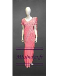 Sari indien jaal rose corail