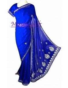 Sari indien strass Bleu...