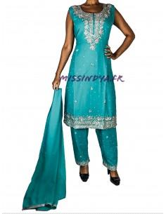Salwar Kameez Rania Bleu...