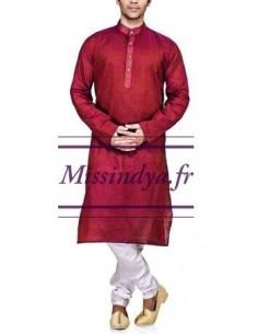 Tunique indien homme bordeaux  - 1