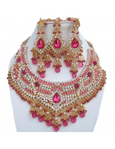 Bijoux collier indiens Rose et dore