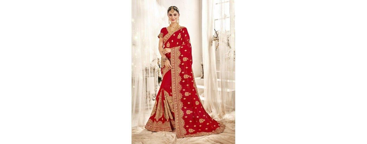 Sari indien richement perlé de Strass à prix cassé - Missindya